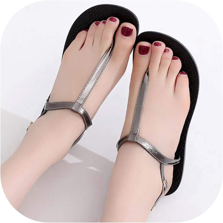 Summer Sandals Women T-Strap Flip Flops Thong Sandals Buckle Strap Lady Sandal