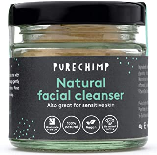 Natural Face Wash (Super Natural Cleanser) 2.8oz (80g) by - 100% Natural, Vegan & Handmade In The UK - Also Great For Sensitive Skin - Recyclable Glass + Aluminium Lid