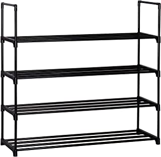LSW 4-Tier Stackable Organizer Shoe Rack Storage Cabinet Towers with Durable Metal Holds up to 20 Pairs (Black)