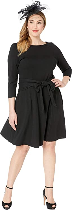 Plus Size Knit Tie Waist Bettie Fit & Flare Dress