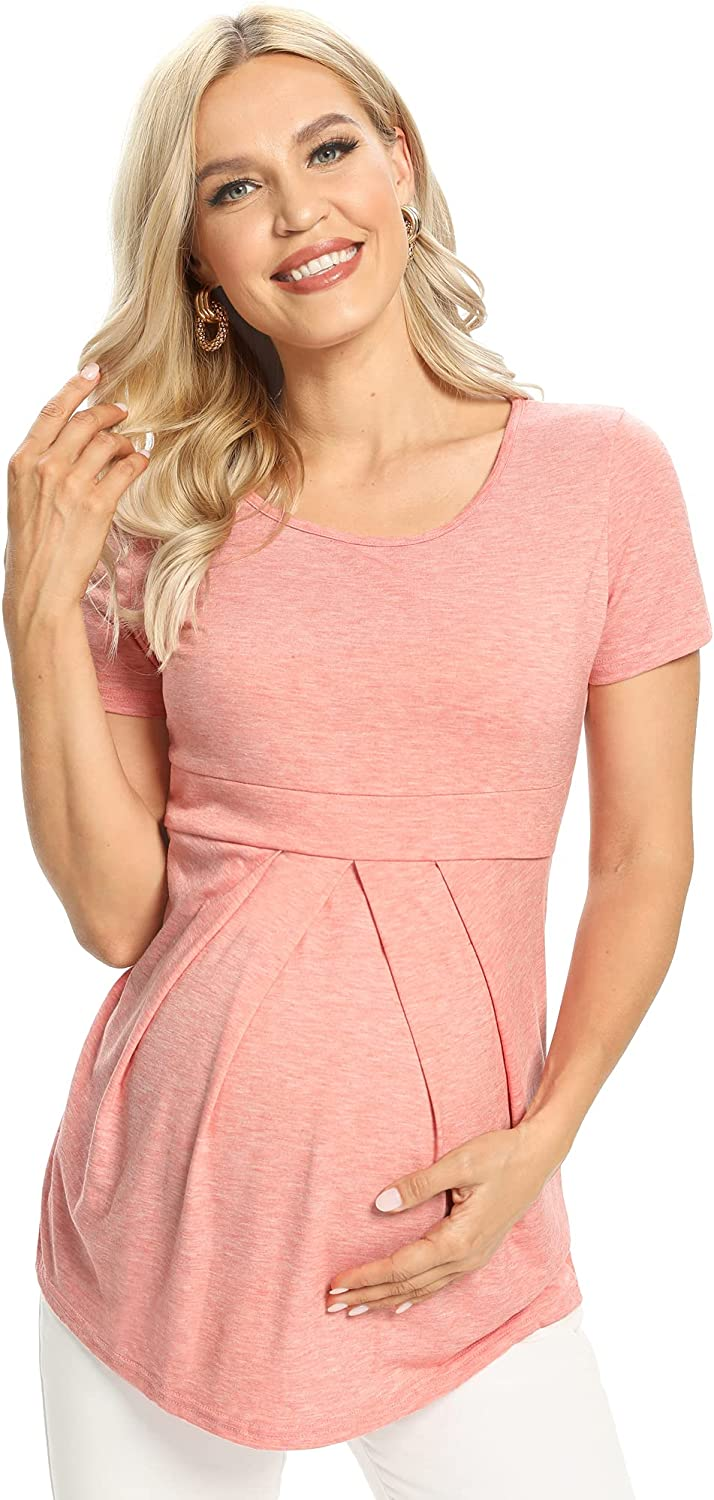 Weekly update GLAMIX Women's Our shop OFFers the best service Maternity Tops Short 3 Peplum Blouse Sleeve F 4