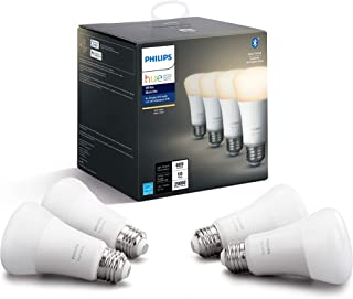 Philips Hue White A19 4 Pack LED Smart Bulb, Bluetooth & Zigbee compatible (Hue Hub Optional), voice activated with Alexa,...