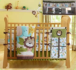 Woodland Animal Nursery Crib Bedding Set Lion King Elephant Crocodile Safari Animal Baby Bedding Set 1 Quilt +1 Dust Ruffle+Fitted Sheet +1 Diaper Stacker +1(4)Bumpers+1 Window Valance(Brown-9 Pieces)