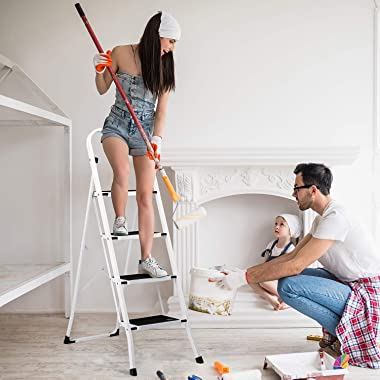 Delxo Folding 4 Step Ladder with Convenient Handgrip Anti-Slip Sturdy and Wide Pedal 330lbs Portable Steel Step Stool White a