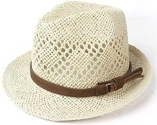 Xiang Ye Unisex Women Men Straw Beach Sun Hat Elegant Lady Fedora Travel Panama Sunbonnet Sunhat Size 56-58CM