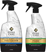 Stone Care International Granite Stone Cleaner and Polish Combo for Granite Marble Soapstone Quartz Quartzite Slate Limestone Corian Laminate Tile Countertop