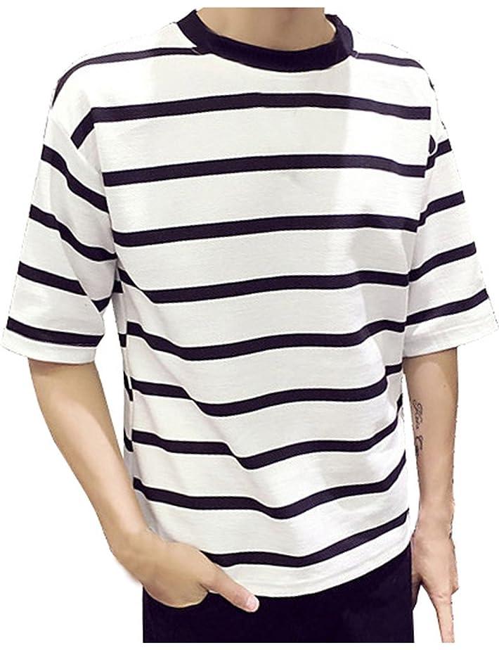 アプトナサニエル区資本[ソーロ トゥ] ボーダー Tシャツ カットソー ビッグシルエット 半袖 五分袖 良質素材 M ? 5XL サイズ
