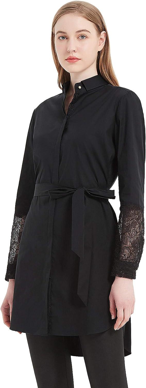 PACIBE Women's Casual Button Down Hidden Placket Tie Belted Blouse Lace Long Sleeve Short Shirt Dress