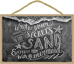 """SJT ENTERPRISES, INC. Write Your Secrets in The Sand and Trust Them with a Mermaid 7"""" x 10.5"""" Wood Plaque Sign Featuring The Chalk Artwork of Ampersand (SJT14863)"""