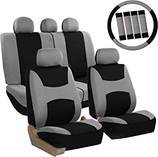 FH Group FB030GRAYBLACK115-COMBO Seat Cover Combo Set with Steering Wheel Cover and Seat Belt Pad (Airbag Compatible and S...