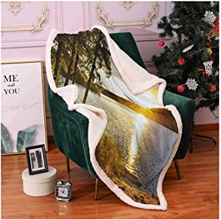 Landscape Thick Blanket Sunset Dawn in The Forest Over Lake of Two Rivers Algonquin Park Ontario Canada Blanket Throw Multicolor 50