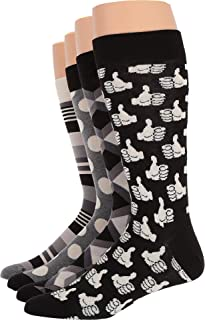 Happy Socks Black and White Men's Socks Gift Box Set of 4, Black/White. 10-13