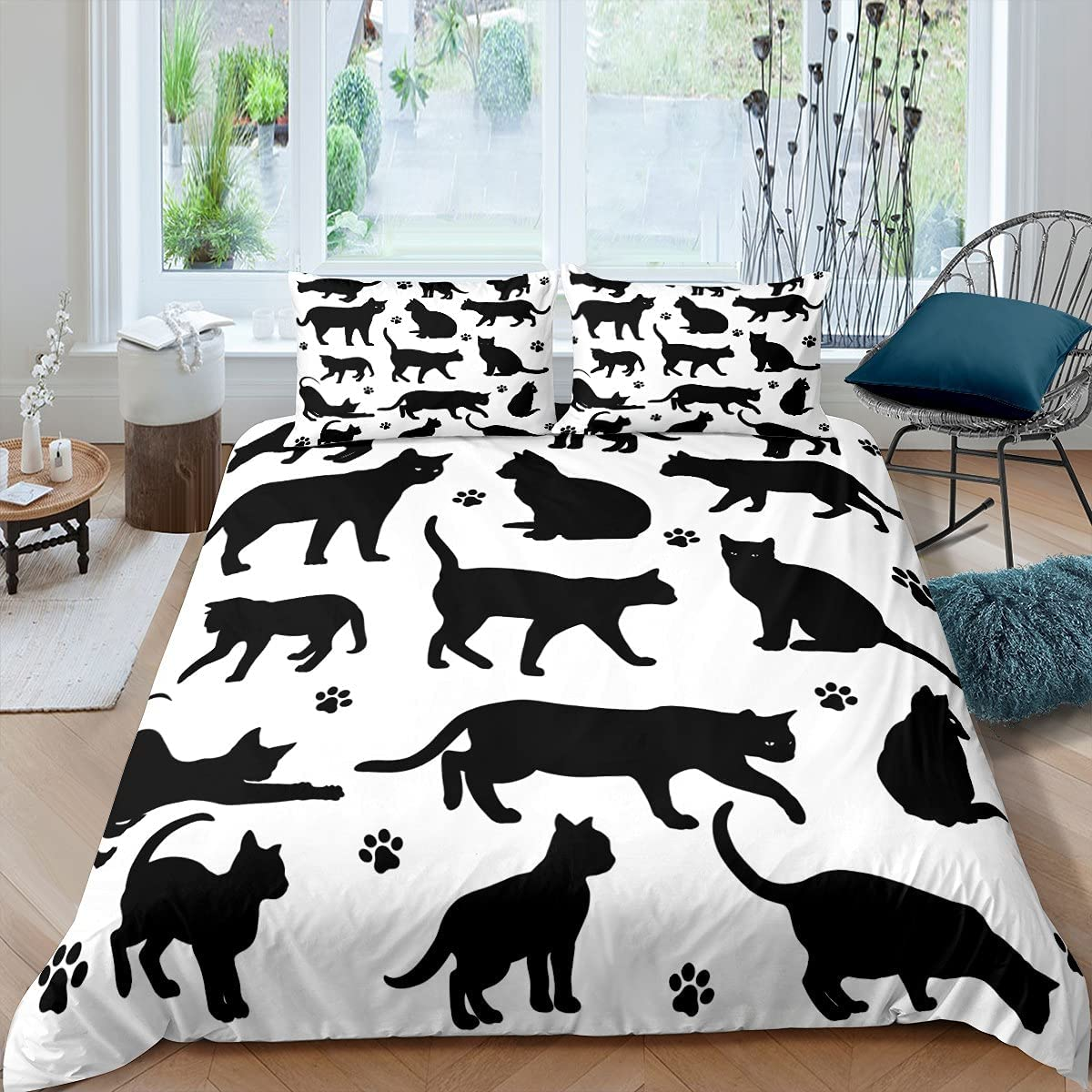 Black Cat Duvet We OFFer at cheap prices Cover Set Pet Cartoon Pattern shipfree B Silhouettes