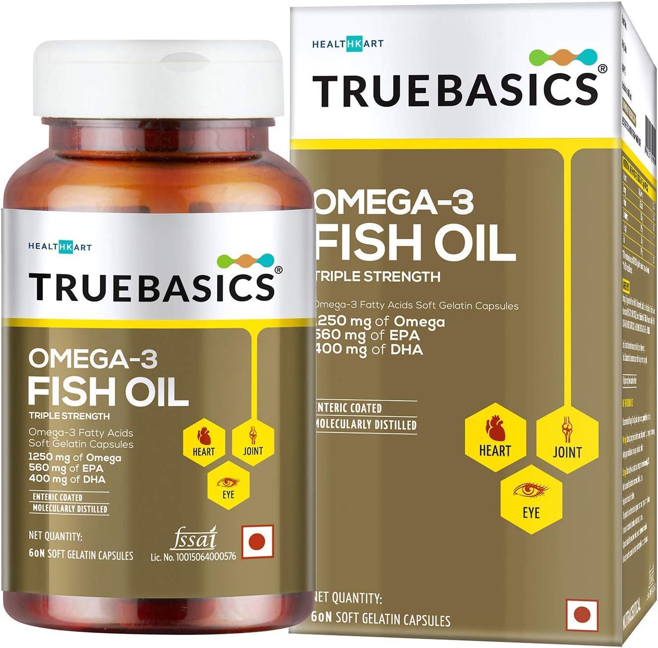 Polet TrueBasics New popularity Omega Regular store 3 Fish Oil Women Men Tr for and Capsules