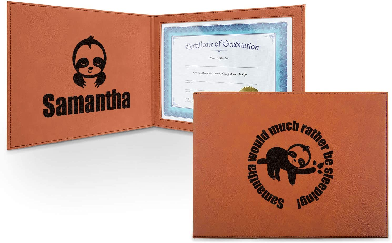 Sloth Leatherette Certificate Holder - Memphis Free Shipping New Mall Persona Inside and Front