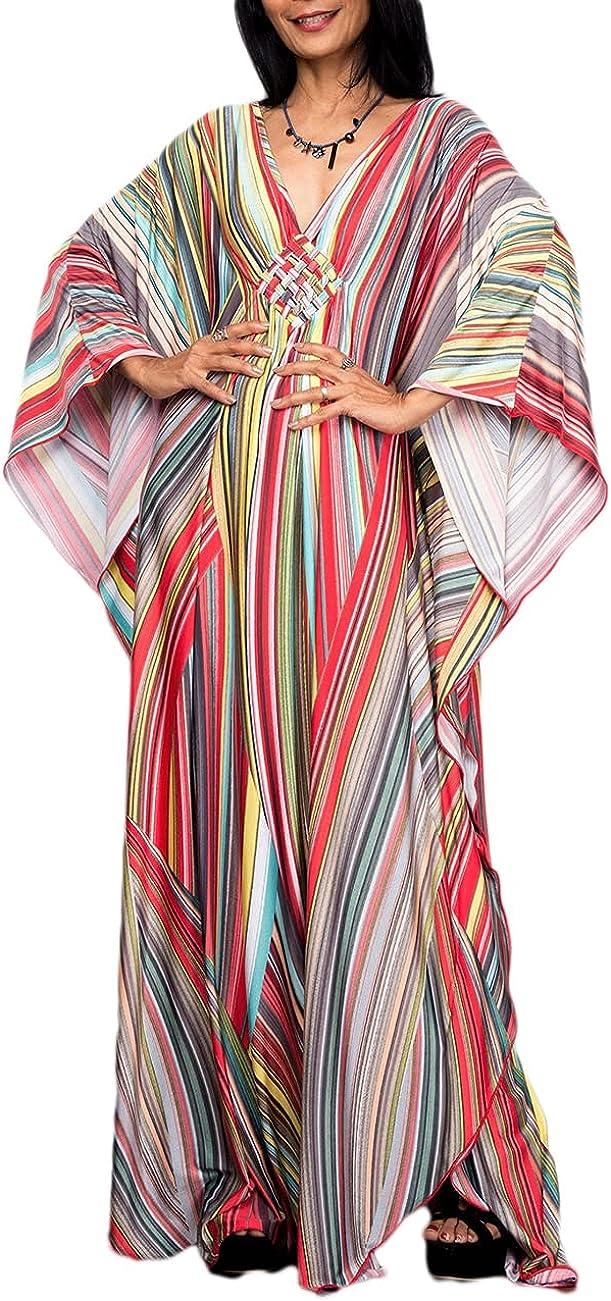 Bsubseach Women Ethnic Print Kaftan Beach Dress Plus Size Swimsuit Cover Up
