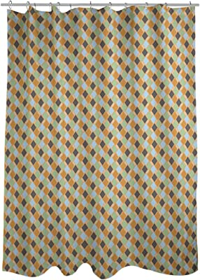E by design SCGN408GR27 Rope Rigging Geometric Print Shower Curtain Green
