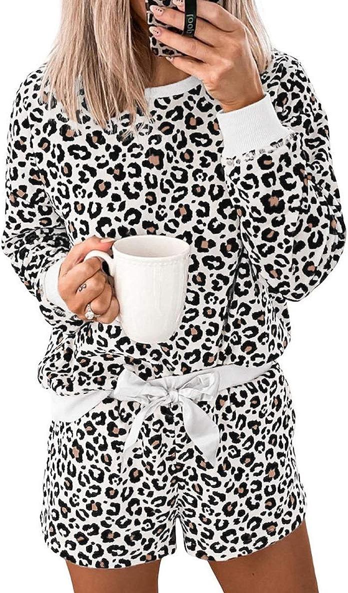 Women's Tie-Dye Leopard Printed Pajamas Set Long-Sleeve Tops with Shorts Two-Piece Sleepwear Loungewear