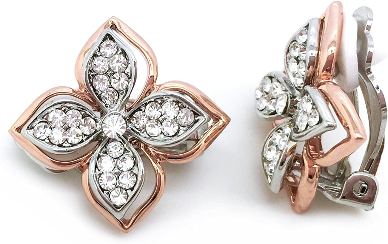 Sparkly Bride Flower Clip on Earrings Pink Crystal Rose Gold Plated Women Fashion