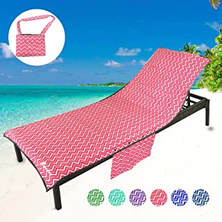 YOULERBU Thickened Microfiber Beach Chair Pool Towels, Swimming Pool Chaise Lounge Cover Towels with Pillow and Side Pockets Holidays Sunbathing Quick Drying Terry Towels