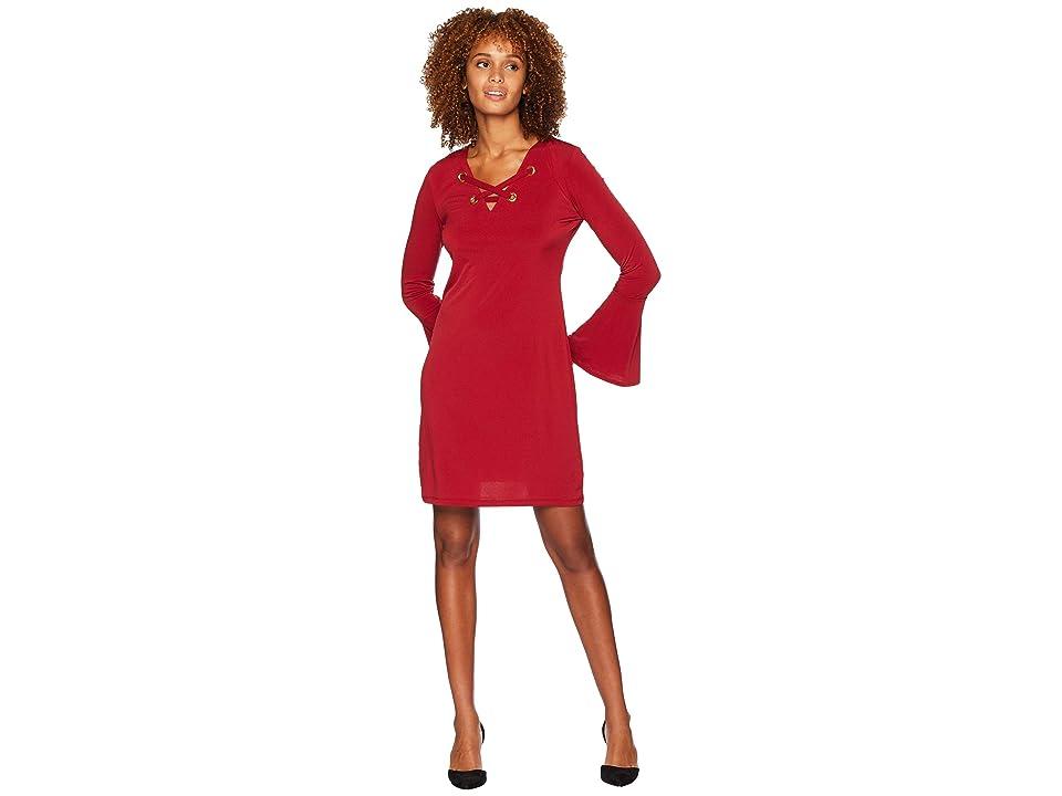 MICHAEL Michael Kors Grommet Lacing Matte Jersey Dress (Maroon) Women