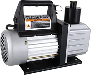 SUNCOO Electric 5 CFM Vacuum Pump HVAC Single Stage Rotary Vane Deep 110V AC Refrigerant Charge 1/3HP, Black