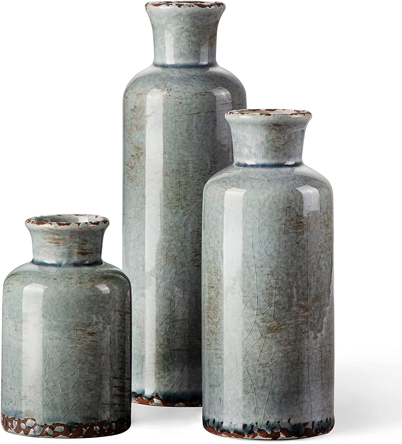 CwlwGO- Ceramic Rustic Vase for Home Decor, Set of 3 Small Decorative Vases for Table, Tabletop Shelf, Living Room,Retro Blue,Great for Adding a Decorative Touch to Any room's Decor.