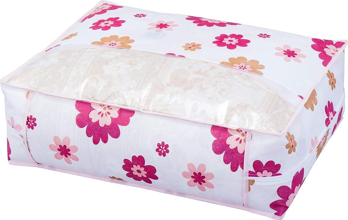 不要夢中物思いにふけるアストロ 羽毛布団 収納袋 シングル用 花柄 不織布 抗菌?防臭 コンパクト 618-42