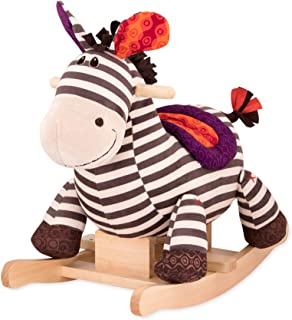 B. toys – Kazoo Wooden Rocking Zebra – Rodeo Rocker – Plush Ride On Zebra Rocking Horse for Toddlers and Babies 18m+