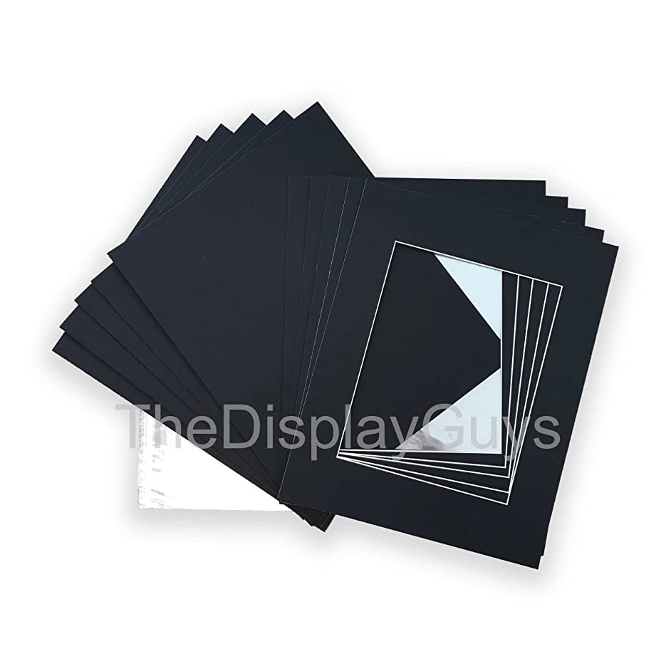 The Display Guys, Pack of 10 Black Pre-Cut Picture Mat 11x14 inches for 8x10 Photo White Core Bevel Cut Mattes Sets+ Backing Board + Clear Plastic Bags (Pack of 10 Black 11x14 Complete Set)