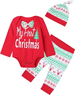 Xmas Gift Outfit Set Baby Boys Girls My First Christmas Romper