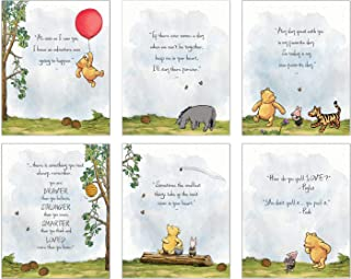 Winnie The Pooh Art Prints - Set of 6 (8 inches x 10 inches) Baby Shower Decorations, Nursery Wall Art Decor - Baby Bedroo...