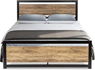 Urest Full Size Bed Frame with Headboard/Platform Metal Bed Frame with Footboard/Strong Slat Support/No Box Spring Needed