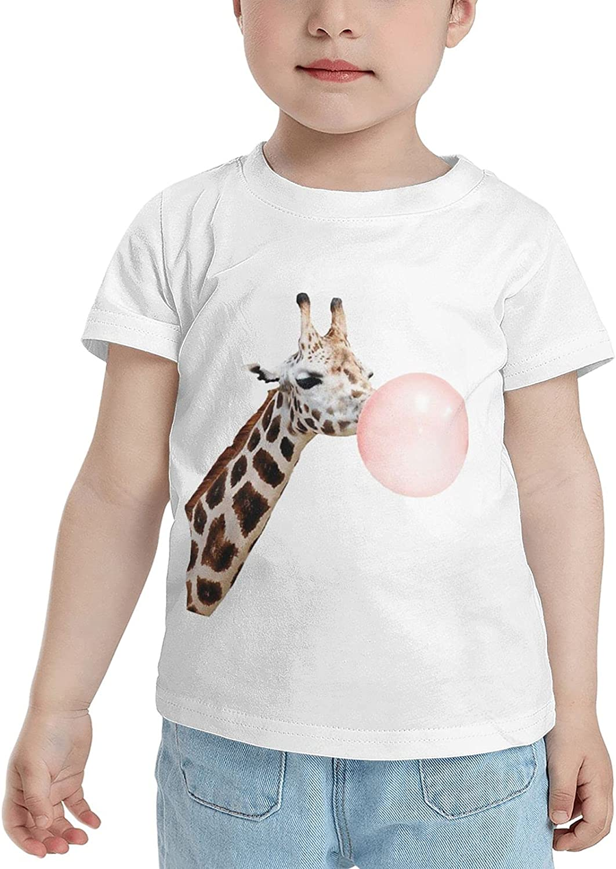 Cute Giraffe Blowing Bubble Gum Children's T-Shirt,Short Sleeve Cotton Shirts Boys Girls Tee Tops for Summer