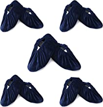 5 Pairs Non Slip Washable Reusable Shoe Covers For Household Thickened Boot Covers, Dark Blue