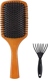 SOFOVIEW Wooden Paddle Hair Brush with Hair Brush Cleaner,Natural Hair Detangling Brush for Women,Men & Kids,Anti Static Reduce Frizz and Massage Scalp