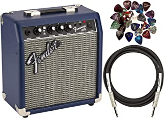 Fender Frontman 10G Electric Guitar Amplifier - Midnight Blue Bundle with 24 Picks and 10-Foot Instrument Cable
