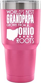 My Ohio Double Wall Vacuum Insulated Tumblers with Straw, Grandpapa Double Wall Stainless Steel Insulated Tumbler, 30-Ounce (30oz - Pink)