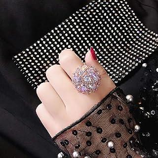 S925 Sterling Silver Luxury Full Diamond Round Super Flash Zircon Ring Fashion high-end Simulated Diamond Wedding or Engag...