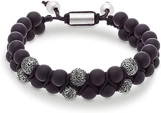 Steve Madden Men's Black and Grey Beaded Double Strand Adjustable Bracelet in Stainless Steel