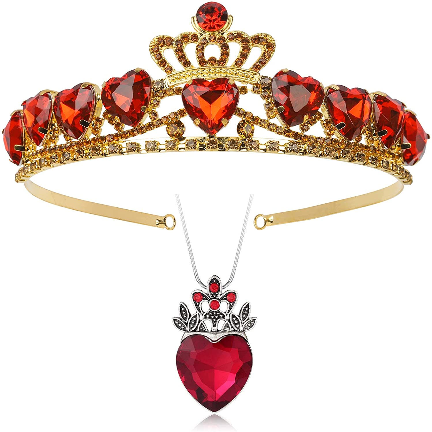 Botrinal Evie Royal Red Heart Necklace and Tiara Descendants Red