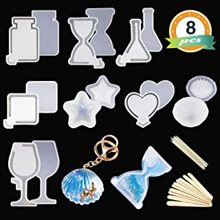UV Resin Molds LET'S RESIN Kawaii Resin Shaker Mold, Crystal Silicone Molds, Epoxy Resin Molds with Square, Heart, Star, Hourglass, Seashell, Wine Glass, Perfume Bottle, Beaker Glass Molds