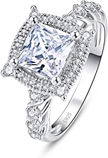 925 Sterling Silver Women Princess Cut Cubic Zirconia Wedding Band CZ Halo Engagement Ring