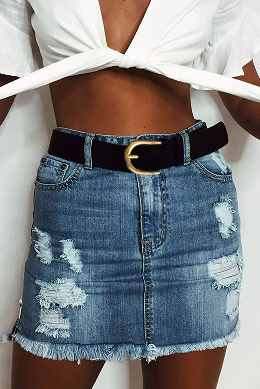 Acelitt Womens Casual Mid Rise Washed Frayed Pockets Denim Jean Short Skirt