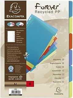 Exacompta - Réf. 2706E - Intercalaires en polypropylène recyclé translucide avec 6 onglets neutres - Page d'indexation imp...