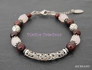 Elegante bracciale in argento: granato e vero quarzo rosa, idea regalo donna