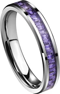 Queenwish Womens 4mm Tungsten Carbide Purple/Blue Carbon Fiber Inlay Wedding Bands Ring Comfort Fit Size 4-10 with Ring Box