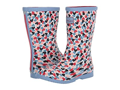 Joules Kids Roll Up Welly (Toddler/Little Kid/Big Kid) (White Hearts) Girl