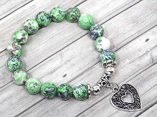 Bracciale da donna in giada color verde e nero con ciondolo in filigrana a forma di cuore