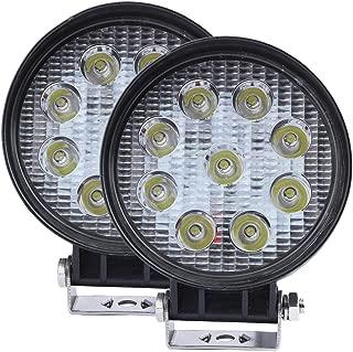 ILike 2 Pcs 27W Led Driving Light 4 inch Round Off Road Lights Flood Beam 12V Fog Lamp 48W Pods Light Bar for Truck Tractor 4WD Jeep SUV ATV Boat Daytime Running Light